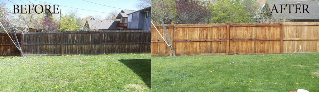 before-after powerwashed fence