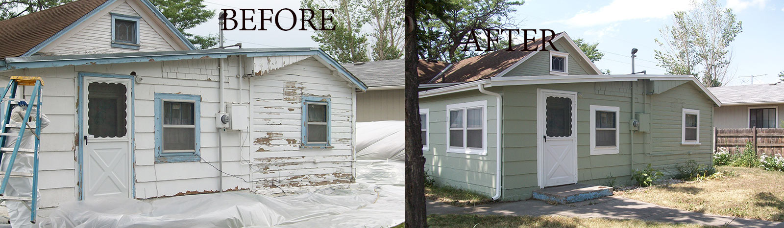 before- after old cottage