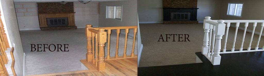 before-after railing and wood floor